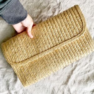 oversized woven straw natural new vintage clutch
